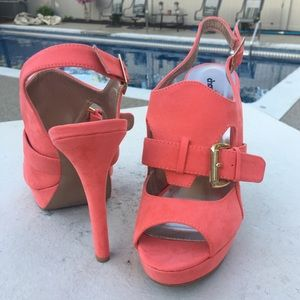 EUC charlotte Russe coral suede high heels 8.5
